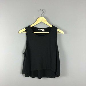 Cale Canada Solid Black Cropped Tank Top